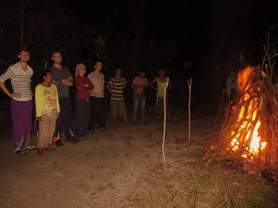 Bonfire while Camping in the Jungle on the Waterfall Trek (near Kundangan Village, Kalimantan, Borneo, Indonesia)