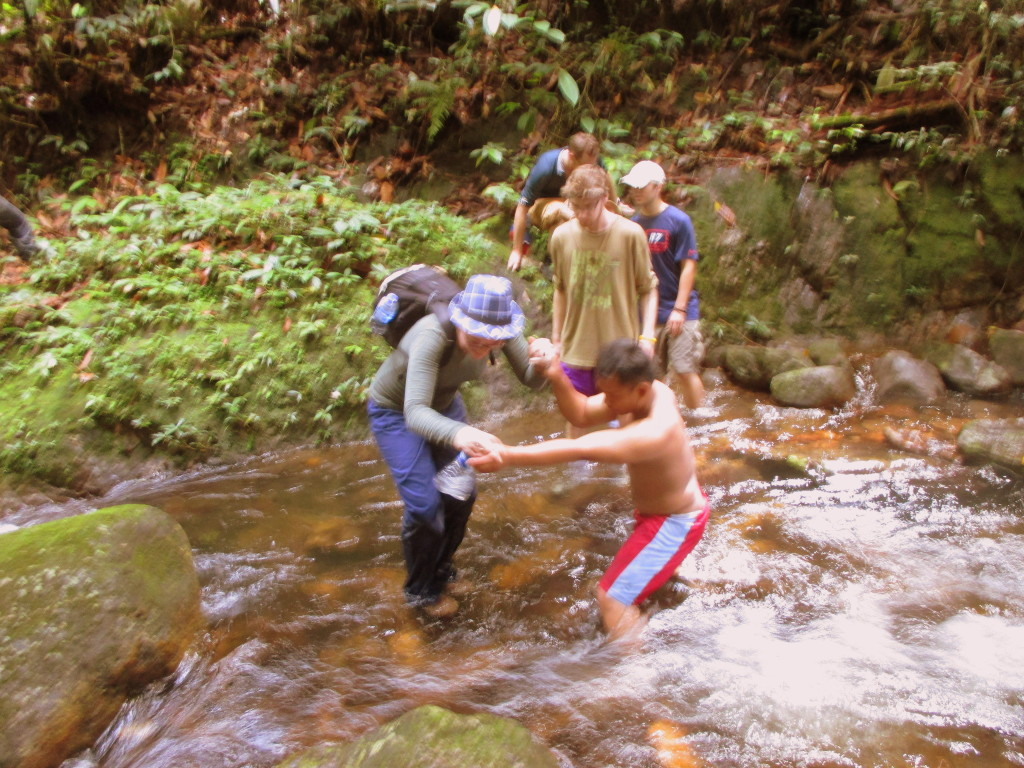 River Crossing on the Waterfall Trek (near Kundangan Village, Kalimantan, Borneo, Indonesia)